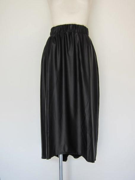 画像1: Virginieee fake leather long skirt